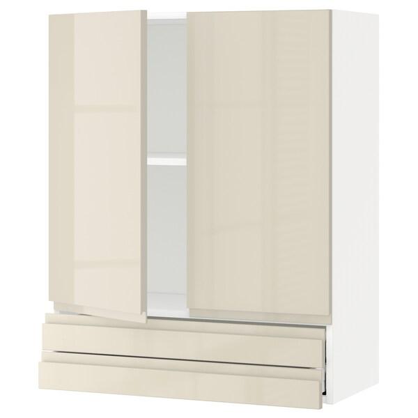 METOD / MAXIMERA خزانة قاعدة بابين/2 أدراج, أبيض/Voxtorp بيج فاتح لامع, 80x100 سم