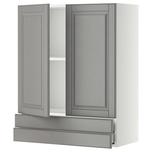 METOD / MAXIMERA wall cabinet w 2 doors/2 drawers white/Bodbyn grey 80.0 cm 38.9 cm 100.0 cm