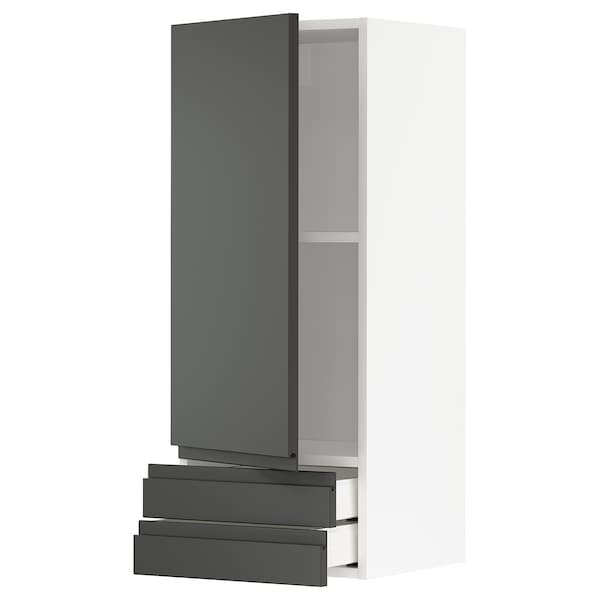 METOD / MAXIMERA Wall cabinet with door/2 drawers, white/Voxtorp dark grey, 40x100 cm