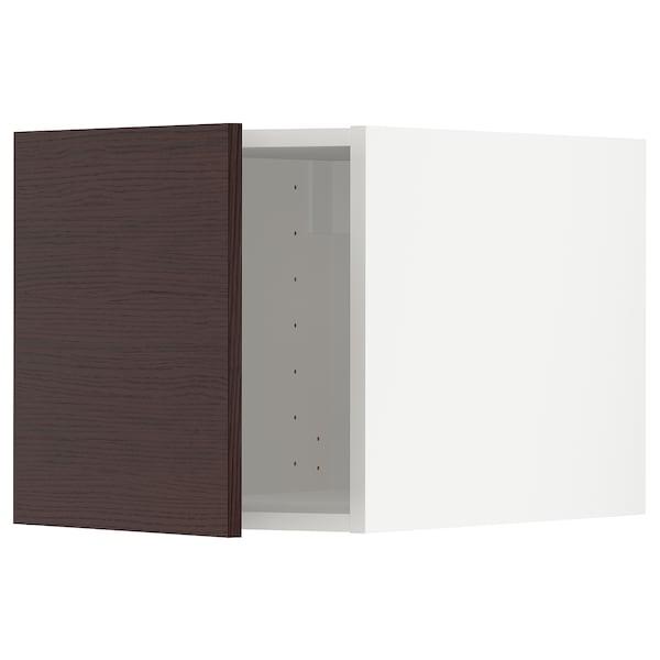 METOD Top cabinet, white Askersund/dark brown ash effect, 40x40 cm