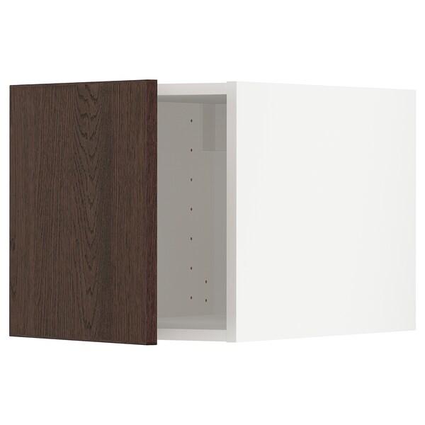 METOD Top cabinet, white/Sinarp brown, 40x40 cm
