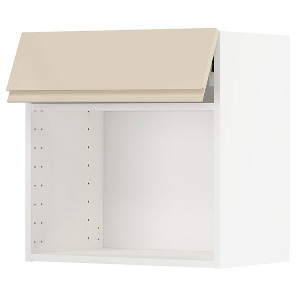 METOD خزانة حائط لفرن ميكرويف/فتح بالضغط, أبيض/Voxtorp بيج فاتح لامع, 60x60 سم
