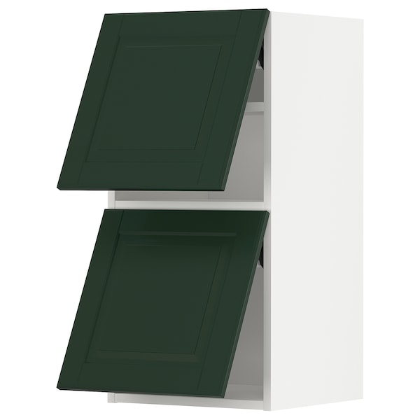 METOD Wall cab horizo 2 doors w push-open, white/Bodbyn dark green, 40x80 cm