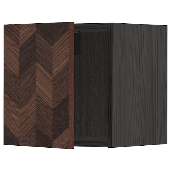 METOD Wall cabinet, black Hasslarp/brown patterned, 40x40 cm