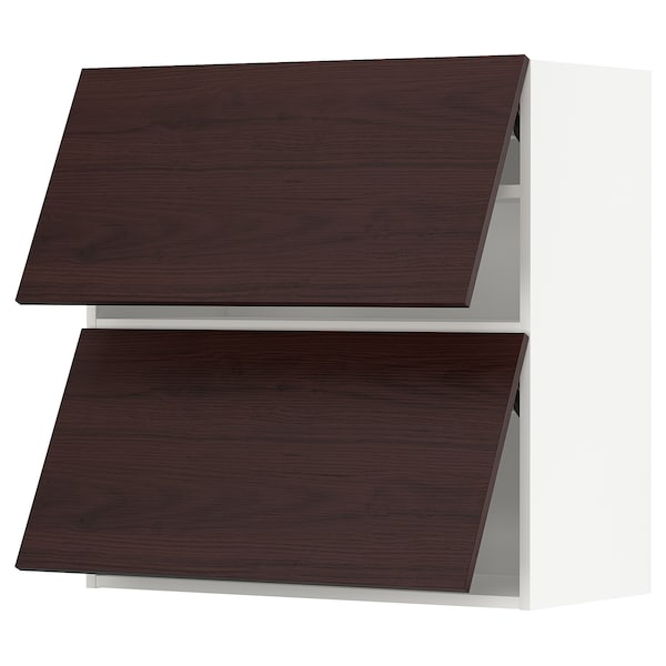METOD Wall cabinet horizontal w 2 doors, white Askersund/dark brown ash effect, 80x80 cm
