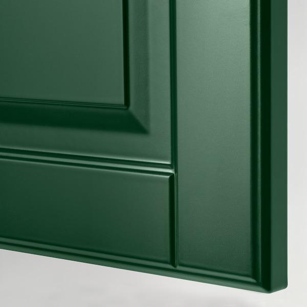 METOD خزانة حائط أفقية مع بابين زجاجية, أبيض/Bodbyn أخضر غامق, 40x80 سم