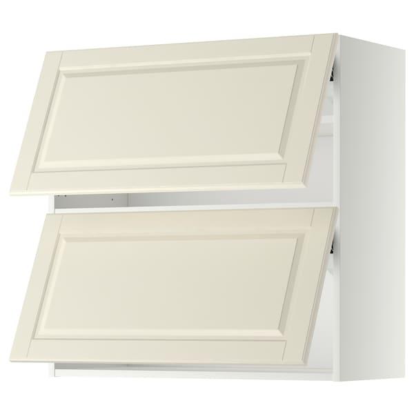 METOD خزانة حائط أفقية مع بابين زجاجية, أبيض/Bodbyn أبيض-عاجي, 80x80 سم