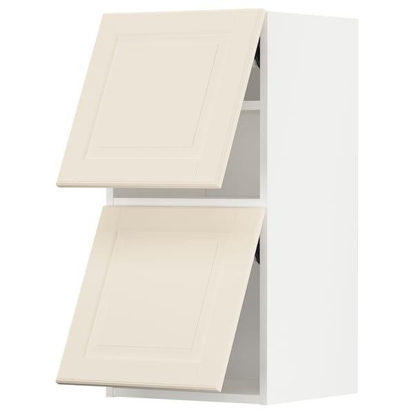 METOD خزانة حائط أفقية مع بابين زجاجية, أبيض/Bodbyn أبيض-عاجي, 40x80 سم