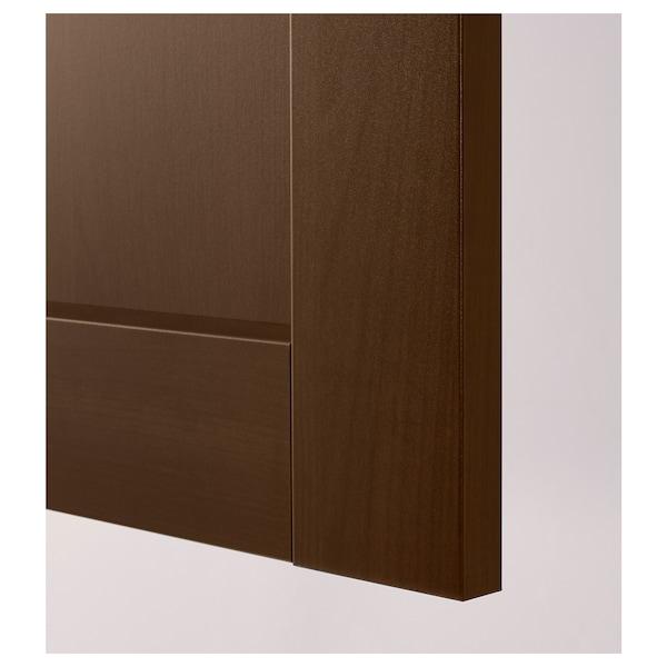 METOD خزانة حائط أفقية مع بابين زجاجية, أبيض/Edserum بني, 60x80 سم
