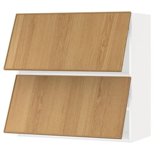 METOD wall cabinet horizontal w 2 doors white/Ekestad oak 80.0 cm 38.9 cm 80.0 cm