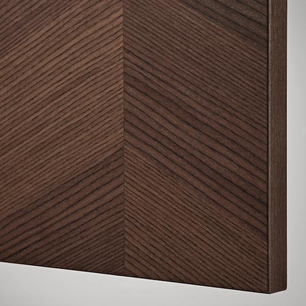 METOD خزانة حائط أفقية مع بابين زجاجية, أبيض Hasslarp/بني منقوش, 40x80 سم
