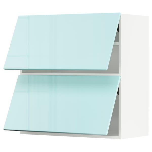METOD خزانة حائط أفقية مع بابين زجاجية, أبيض Järsta/لامع تركواز فاتح, 80x80 سم