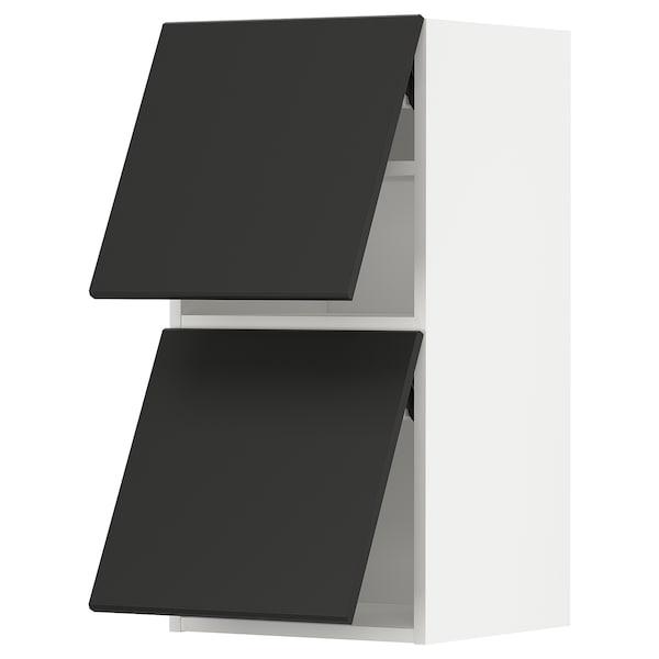 METOD خزانة حائط أفقية مع بابين زجاجية, أبيض/Kungsbacka فحمي, 40x80 سم