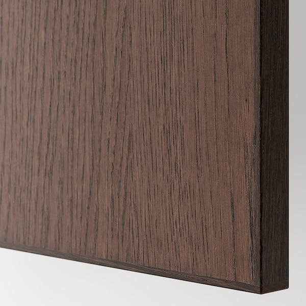 METOD خزانة حائط أفقية مع بابين زجاجية, أبيض/Sinarp بني, 60x80 سم