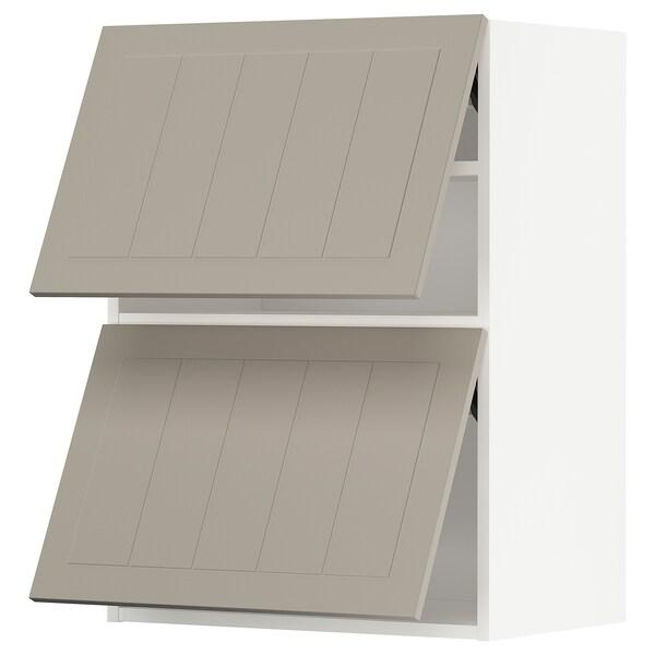 METOD خزانة حائط أفقية مع بابين زجاجية, أبيض/Stensund بيج, 60x80 سم