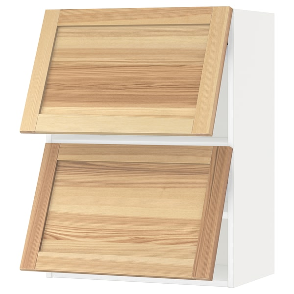 METOD خزانة حائط أفقية مع بابين زجاجية, أبيض/Torhamn رماد, 60x80 سم