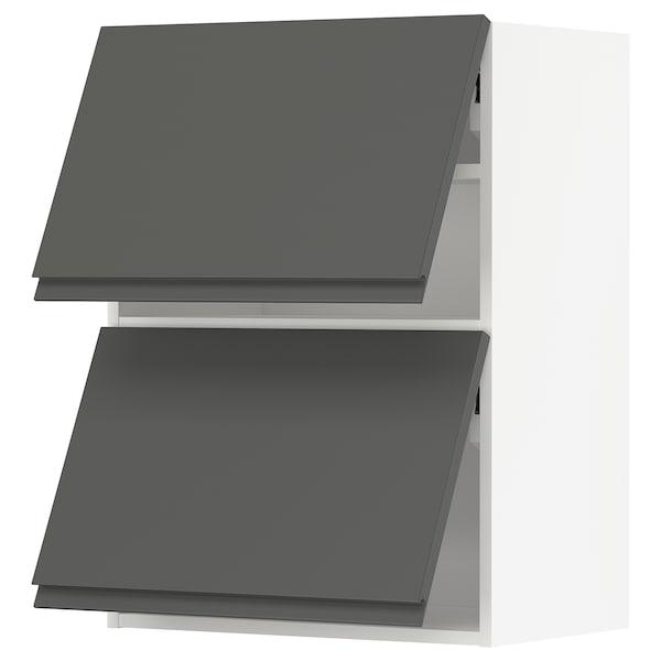 METOD خزانة حائط أفقية مع بابين زجاجية, أبيض/Voxtorp رمادي غامق, 60x80 سم