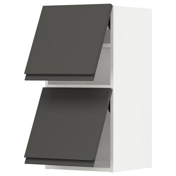 METOD خزانة حائط أفقية مع بابين زجاجية, أبيض/Voxtorp رمادي غامق, 40x80 سم