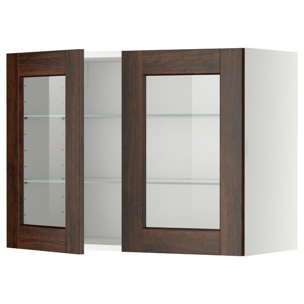 METOD Wall cabinet w shelves/2 glass drs, white/Edserum brown, 80x60 cm