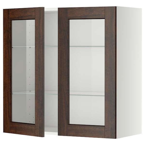 METOD خزانة حائط مع أرفف/بابين زجاجية, أبيض/Edserum بني, 80x80 سم