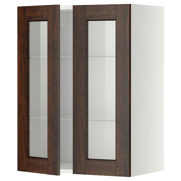 METOD Wall cabinet w shelves/2 glass drs, white/Edserum brown, 60x80 cm