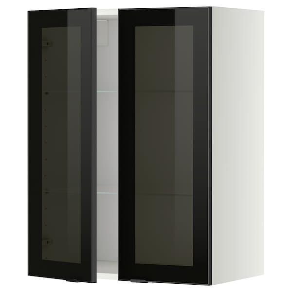 METOD خزانة حائط مع أرفف/بابين زجاجية, أبيض/Jutis زجاج مدخّن, 60x80 سم