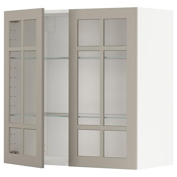 METOD Wall cabinet w shelves/2 glass drs, white/Stensund beige, 80x80 cm