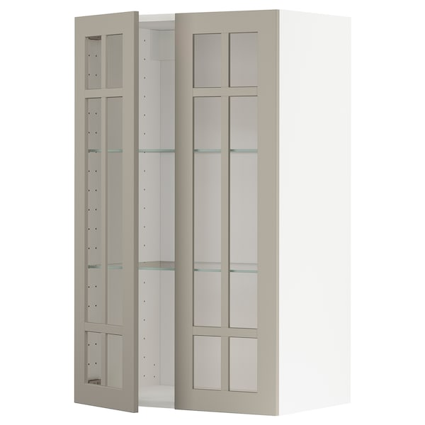 METOD Wall cabinet w shelves/2 glass drs, white/Stensund beige, 60x100 cm