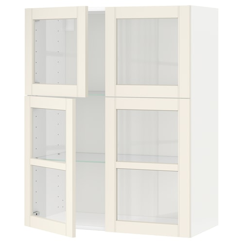 METOD wall cabinet w shelves/4 glass drs white/Hittarp off-white 80.0 cm 38.8 cm 100.0 cm