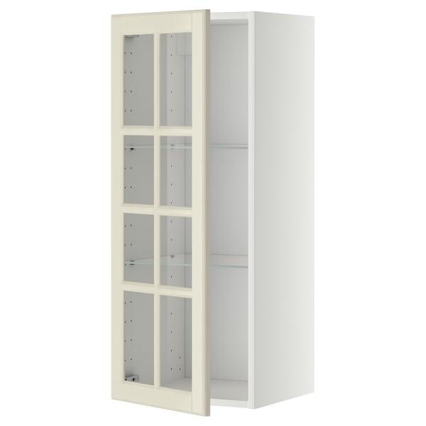 METOD Wall cabinet w shelves/glass door, white/Bodbyn off-white, 40x100 cm