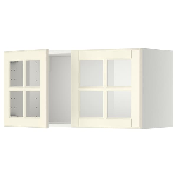 METOD Wall cabinet with 2 glass doors, white/Bodbyn off-white, 80x40 cm