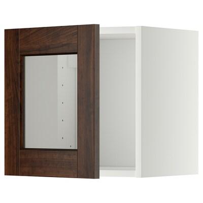 METOD خزانة حائط افقية مع باب زجاجي, أبيض/Edserum بني, 40x40 سم