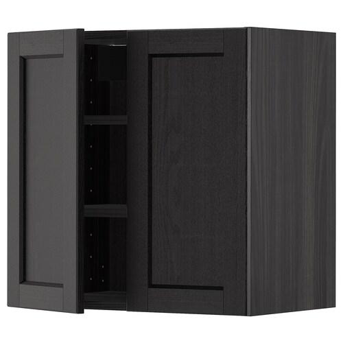METOD wall cabinet with shelves/2 doors black/Lerhyttan black stained 60.0 cm 38.6 cm 60.0 cm