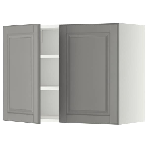 METOD Wall cabinet with shelves/2 doors, white/Bodbyn grey, 80x60 cm