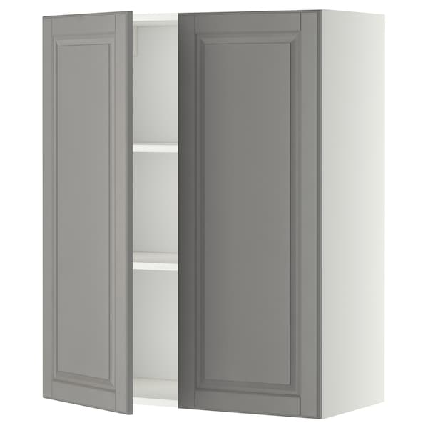 METOD Wall cabinet with shelves/2 doors, white/Bodbyn grey, 80x100 cm