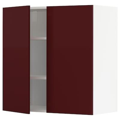 METOD خزانة حائط مع أرفف/بابين, أبيض Kallarp/لامع أحمر-بني غامق, 80x80 سم