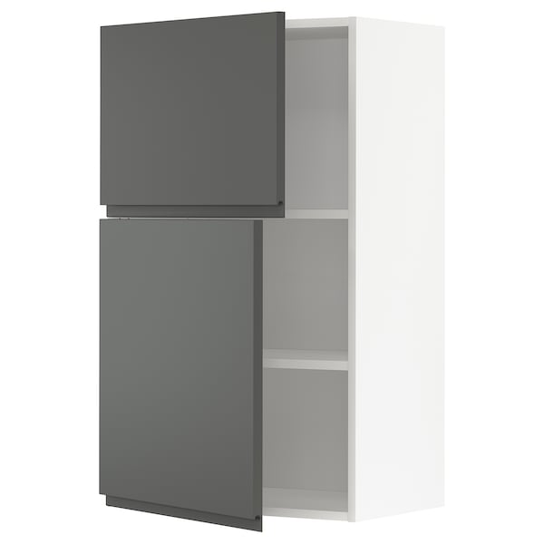 METOD Wall cabinet with shelves/2 doors, white/Voxtorp dark grey, 60x100 cm