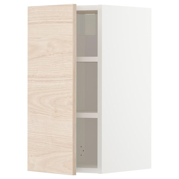 METOD خزانة حائط مع أرفف, أبيض/Askersund مظهر دردار خفيف, 30x60 سم