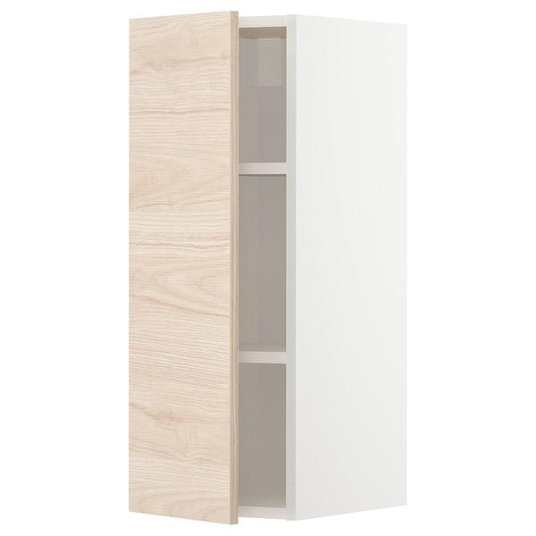 METOD خزانة حائط مع أرفف, أبيض/Askersund مظهر دردار خفيف, 30x80 سم