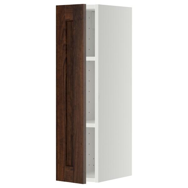 METOD خزانة حائط مع أرفف, أبيض/Edserum بني, 20x80 سم