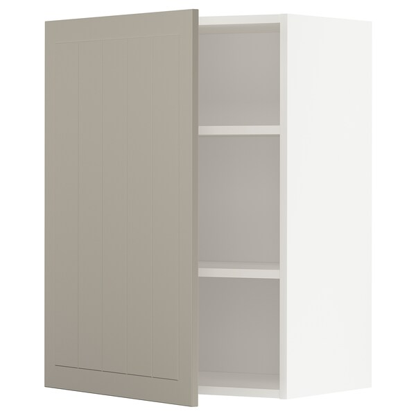 METOD خزانة حائط مع أرفف, أبيض/Stensund بيج, 60x80 سم