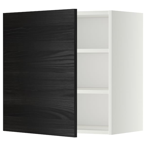 METOD wall cabinet with shelves white/Tingsryd black 60.0 cm 38.6 cm 60.0 cm