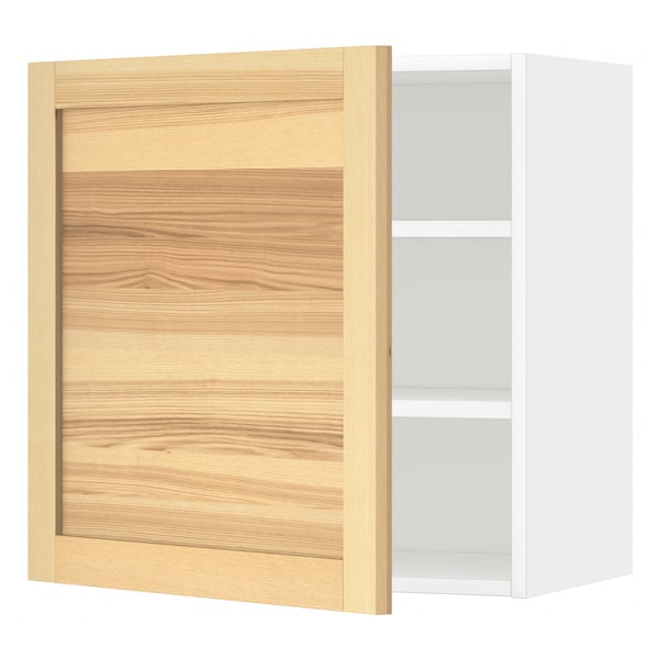 METOD wall cabinet with shelves white/Torhamn ash 60.0 cm 39.0 cm 60.0 cm