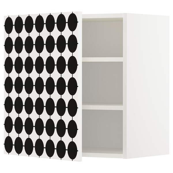 METOD wall cabinet with shelves white/Ytterbyn printed 60.0 cm 38.7 cm 60.0 cm
