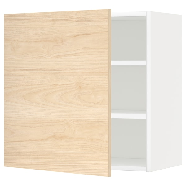 METOD wall cabinet with shelves white/Askersund light ash effect 60.0 cm 38.6 cm 60.0 cm