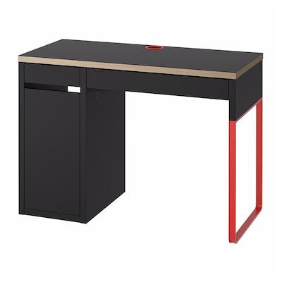 MICKE Desk, anthracite/red, 105x50 cm