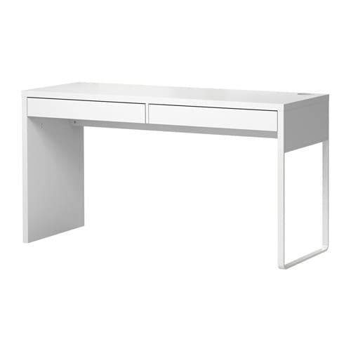 MICKE Desk   A long table top makes it easy to create a workspace for two.