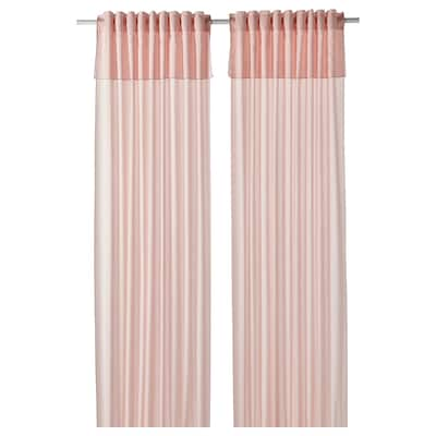 MOALISA Curtains, 1 pair, pale pink/pink, 145x300 cm