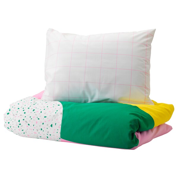 MÖJLIGHET Quilt cover and pillowcase, pink/graphical patterned, 150x200/50x80 cm