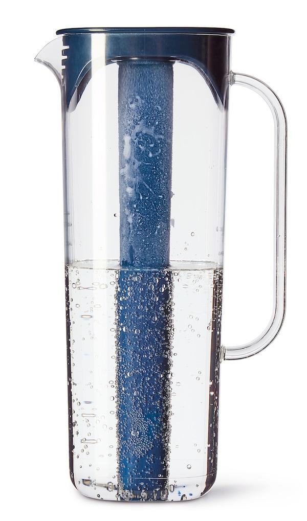 MOPPA ابريق مع غطاء, أزرق غامق/شفّاف, 1.7 ل